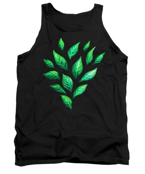 Beautiful Green Leaves Dark Pattern Tank Top