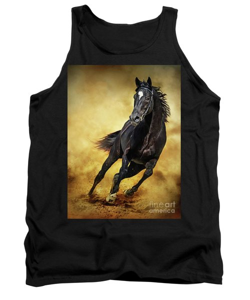 Tank Top featuring the photograph Black Horse Running Wild by Dimitar Hristov