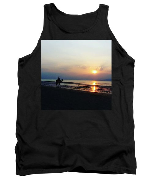Camel Walking Along The Shoreline At Sunset In Egypt Tank Top