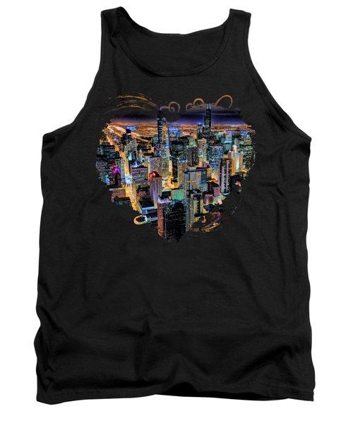 Chicago Skyline At Night Tank Top