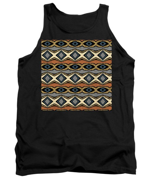 Diamond And Eye Motif With Leopard Accent Tank Top