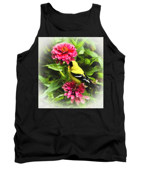Goldfinches Love Zinnias Tank Top