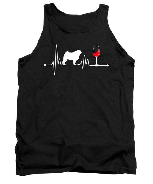 Heartbeat Ekg Pulse Pug And Wine Lover Tank Top