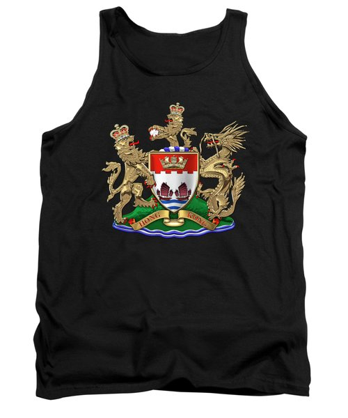 Hong Kong - 1959-1997 Coat Of Arms Over Black Leather  Tank Top