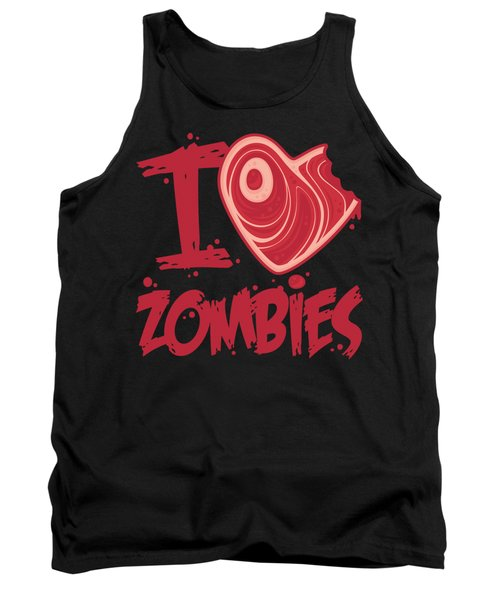 I Love Zombies With Meat Heart Tank Top