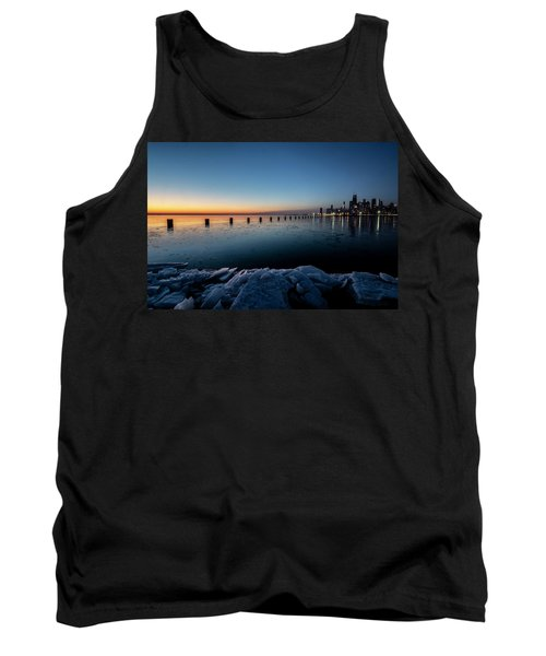 Icy Chicago Skyline At Dawn  Tank Top