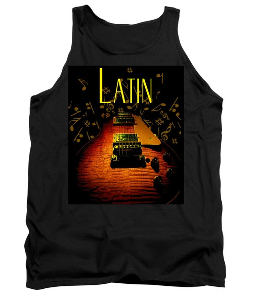 Latin Guitar Music Notes Tank Top