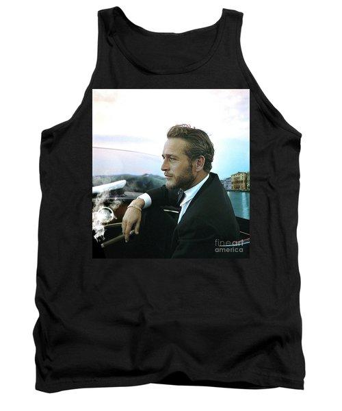 Life Is A Journey, Paul Newman, Movie Star, Cruising Venice, Enjoying A Cuban Cigar Tank Top