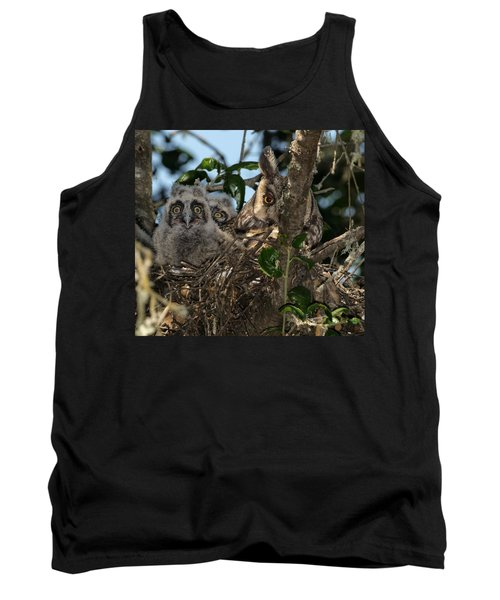 Long-eared Owl And Owlets Tank Top