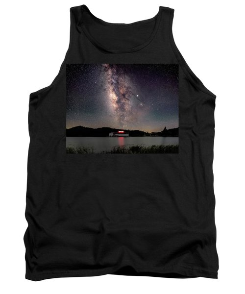 Milky Way Over The Tianping Mountain Lake Temple Tank Top