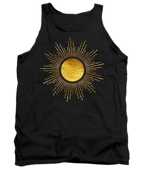 Modern Golden Sunburst Starburst Noir Tank Top