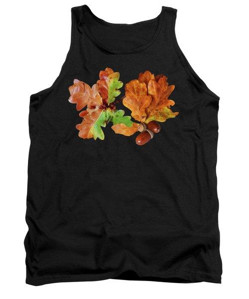 Oak Leaves And Acorns On Black Tank Top