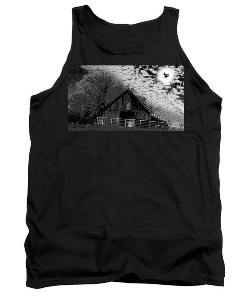 Old Barn Witch On A Broom In The Moon Tank Top