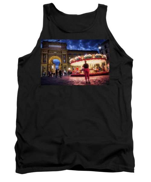 Piazza Della Reppublica At Night In Firenze With Painterly Effects Tank Top