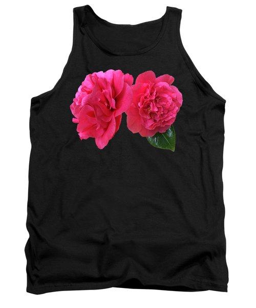 Pink Camellia On Black Tank Top