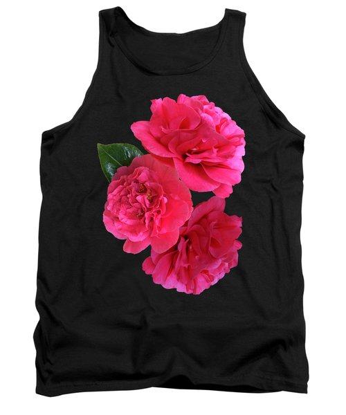Pink Camellia On Black Vertical Tank Top