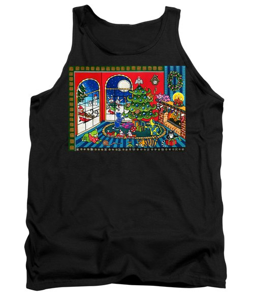 Purrfect Christmas Cat Painting Tank Top