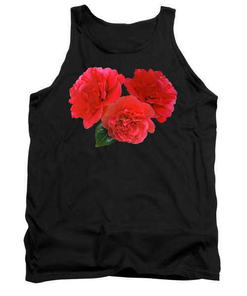 Red Camellias On Black Tank Top