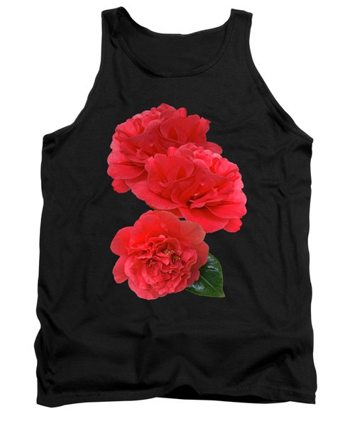 Red Camellias On Black Vertical Tank Top