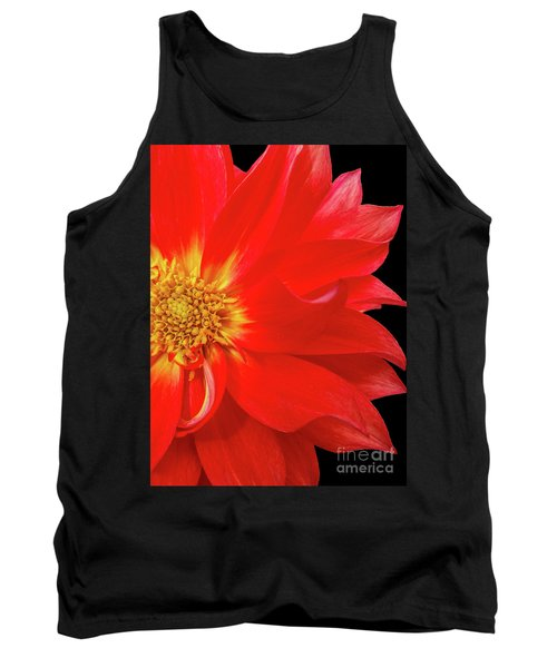 Red Dahlia On Black Background Tank Top