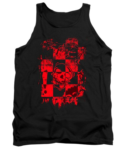 Red Grunge Skull Graphic Tank Top