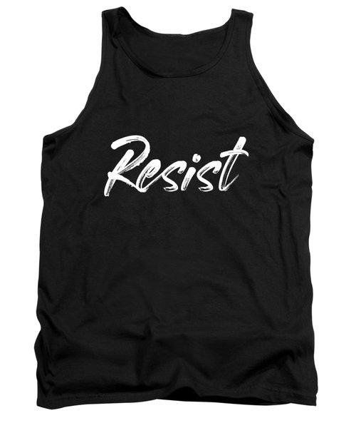 Resist - White On Black Tank Top