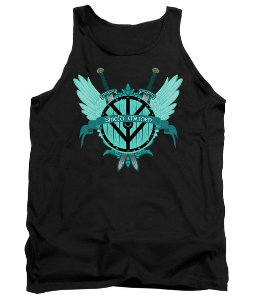 Shield Maiden Badass Warrior Woman Winged Teal Viking Shield  Tank Top