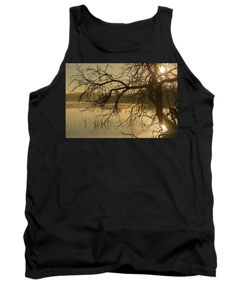 Silhouette Of A Tree By The River At Sunrise Tank Top