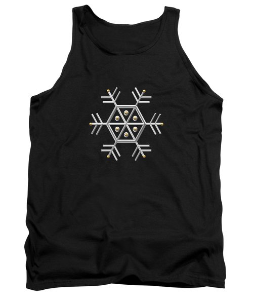 Silver And Gold Snowflake 2 At Midnight Tank Top
