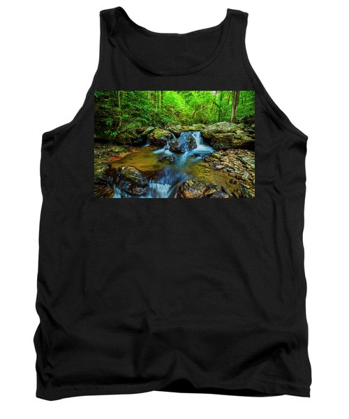 Tank Top featuring the photograph Smith Creek Cascade by Andy Crawford