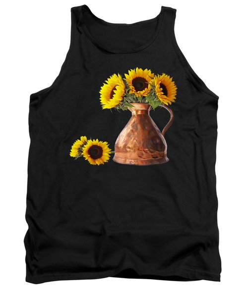 Sunflowers In Copper Pitcher On Black Square Tank Top