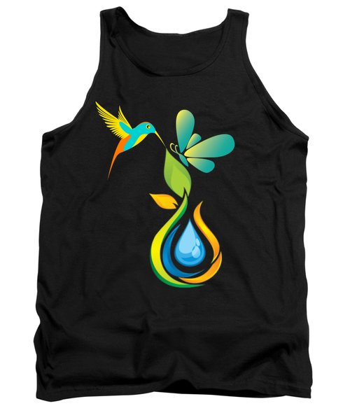 The Kissing Flower And The Butterfly On Flower Bud Tank Top