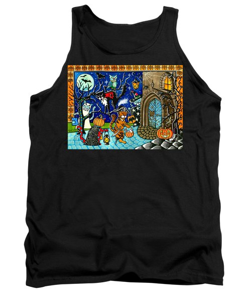Trick Or Treat Halloween Cats Tank Top