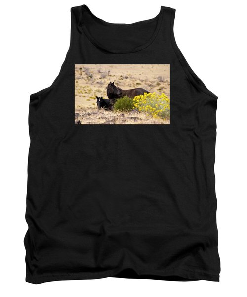 Two Wild Black Horses Among Yellow Flowers Tank Top
