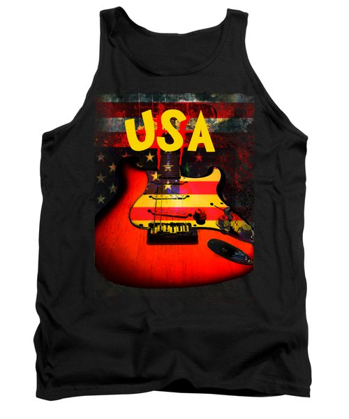 Usa Flag Guitar Purple Stars And Bars Tank Top