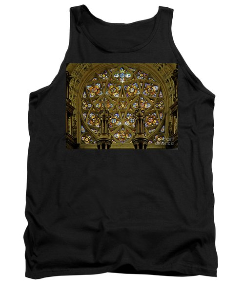 View Of The Rose Window With Suns And Monograms Of Christ And The Virgin, Eglise Notre Dame, Caudebec-en-caux, France Tank Top