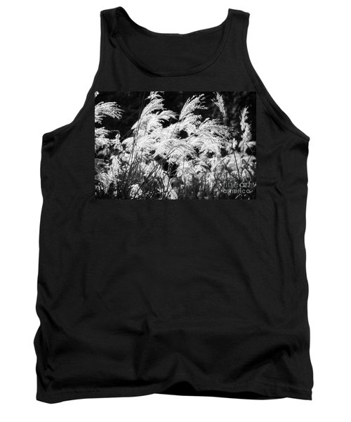 Weed Grass Black And White Tank Top