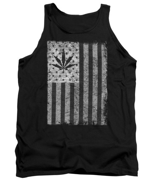 Weed Leaf American Flag Us Tank Top