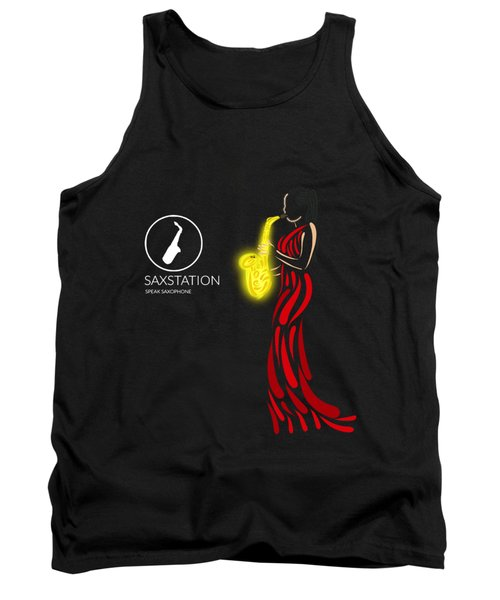 Woman In Red Playing Sax Tank Top