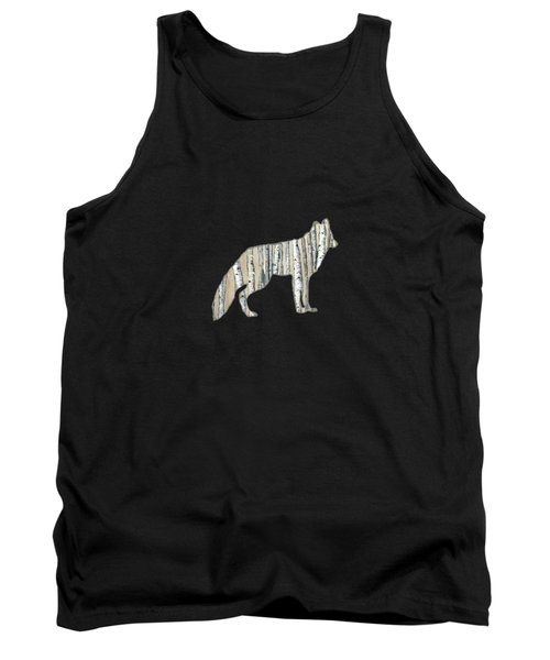 Woods Forest Lodge Wolf With Aspen Trees Tank Top