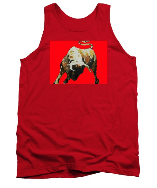 Fight Bull In Red Tank Top by J- J- Espinoza