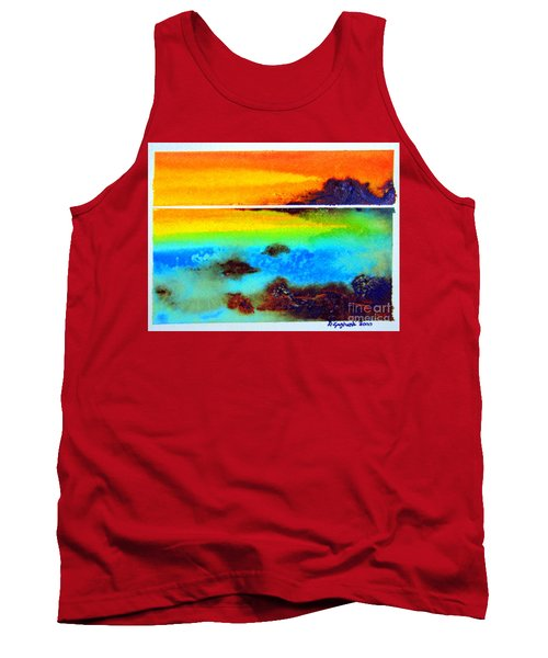 Tank Top featuring the painting  Western Australia Ocean Sunset by Roberto Gagliardi