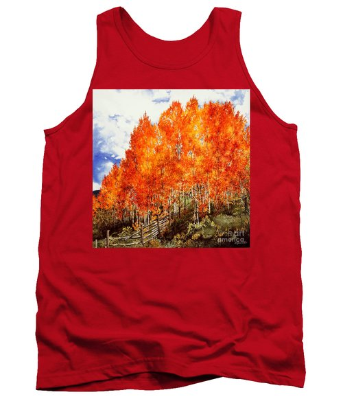 Tank Top featuring the painting Flaming Aspens 2 by Barbara Jewell