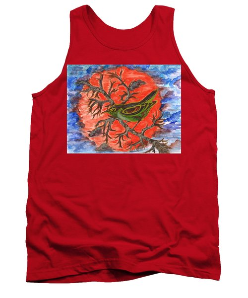 Tank Top featuring the painting Green Warbler by Teresa White