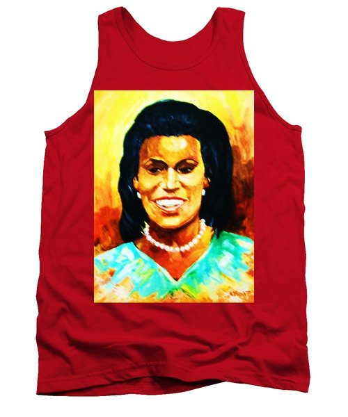 Tank Top featuring the painting Michelle Obama by Al Brown