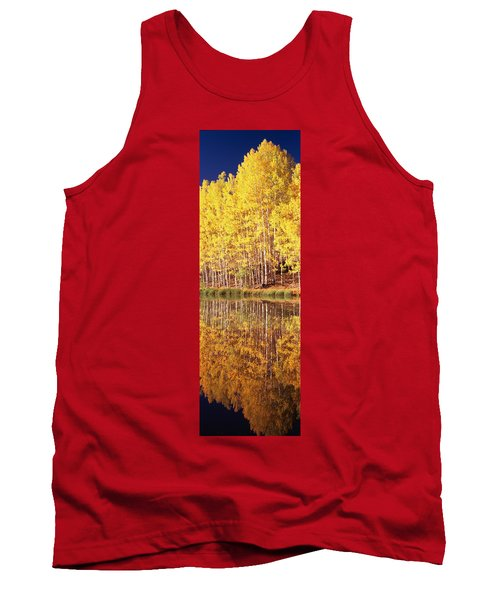 Reflection Of Aspen Trees In A Lake Tank Top