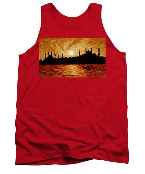 Tank Top featuring the painting Sunset Over Istanbul Original Coffee Painting by Georgeta  Blanaru