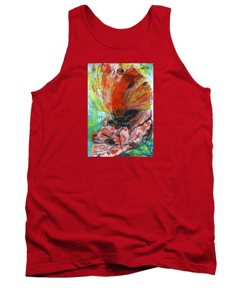 Tank Top featuring the painting Butterfly And Flower by Jasna Dragun