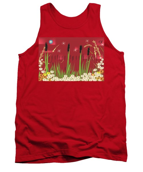 Tank Top featuring the digital art Cattails by Kim Prowse
