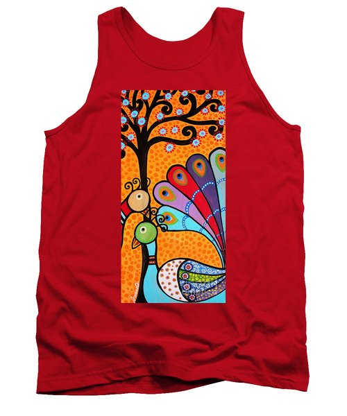 Tank Top featuring the painting 2 Peacocks And Tree by Pristine Cartera Turkus